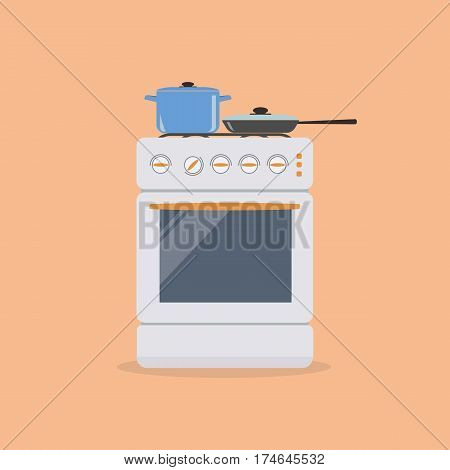 Stove with pan and frying pan on an orange background. Vector illustration.