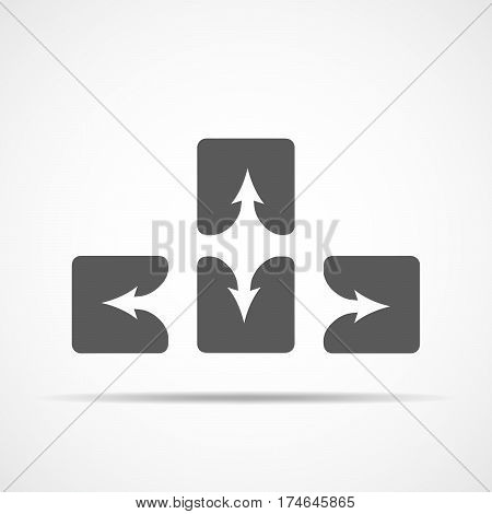 Up down left and right arrow buttons. Four gray square buttons. Vector illustration