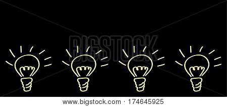 Sketch of a burning light bulb hand-drawn vector