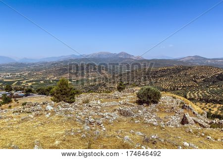 View of vicinities from the hill Mycenae Greece