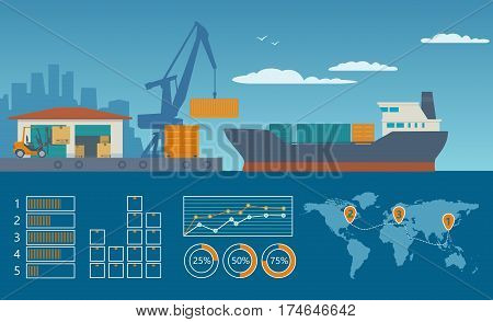 Logistic concept loading processes from the warehouse to the ship loader and crane. Vector flat illustration for business, info graphic, web, presentations, advertising
