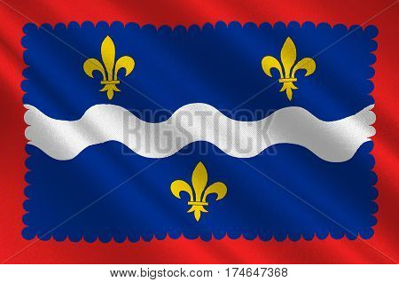 Flag of Indre is a department in the centre of France named after the river Indre. 3d illustration