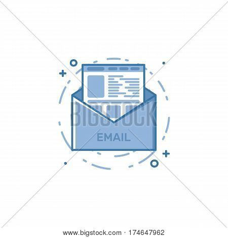 Vector illustration of filled bold outline open envelop with web page icon. Graphic design concept of e-mail marketing, news letter. Blue flat line isolated object.