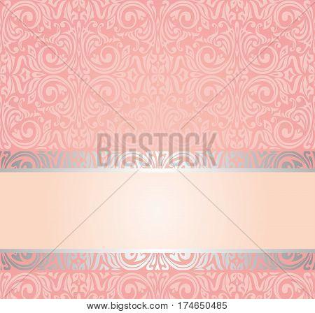 Pink & silver gentle invitation vintage design background