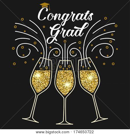 Vector congratulations graduates Class of 2017 badge. Concept for shirt, print, seal, overlay or stamp, greeting, invitation card. Typography design. Graduation design with glass of champagnes.