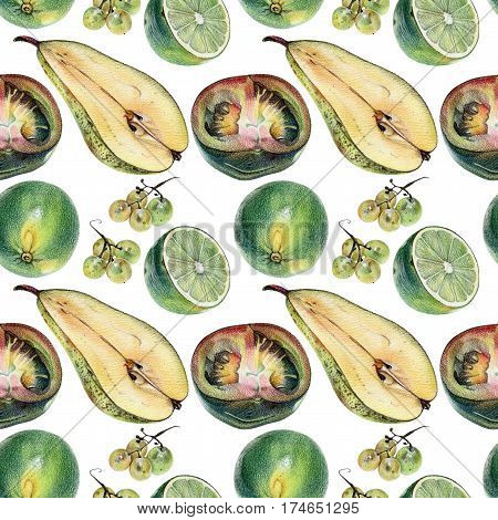 Seamless pattern with green limes tomatoes pears and grapes drawn by hand with colored pencil. Healthy vegan food. Fresh tasty fruits and vegetables painted from nature