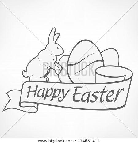 Easter Rabbits White Illustration