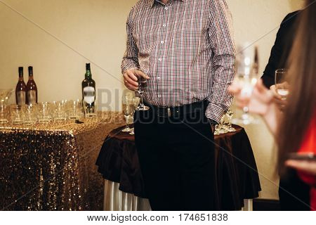 Handsome Stylish Man With Alcohol Drink Posing At Business Dinner Party, Corporate Suit Man Holding