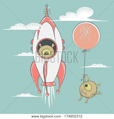 alien travel in rocket.Cute humanoid flying on balloon beside.Childish vector illustration