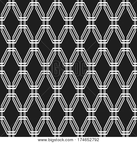 Geometric abstract vector black and white octagonal background. Geometric abstract ornament. Seamless modern pattern