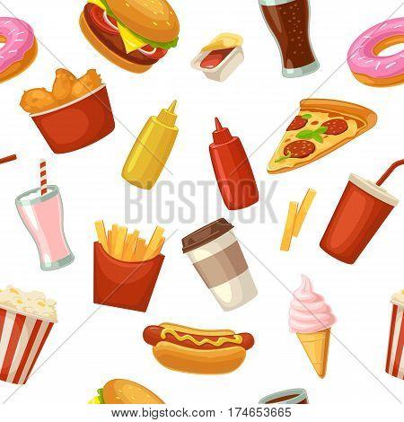 Seamless pattern fast food. Cup cola, coffee, donut, ice cream, milkshake, hamburger, chicken legs, hotdog, fry potato, popcorn, ketchup. Vector flat color illustration isolated on white background