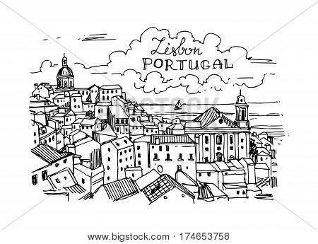 Hand drawn vector illustration Lisbon, Portugal. Sketch style