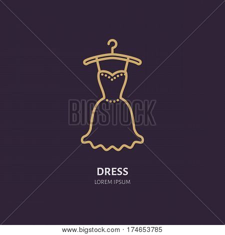 Evening dress on hanger icon, clothing shop line logo. Flat sign for apparel collection. Logotype for laundry, clothes cleaning.