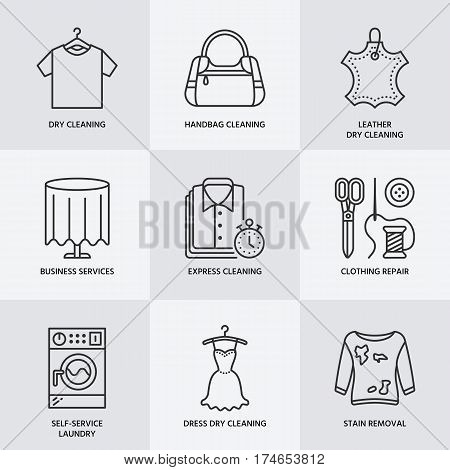 Dry cleaning, laundry line icons. Launderette service equipment, washing machine, clothing shoe and leather repair, garment. Washing thin linear signs for self-service laundry.