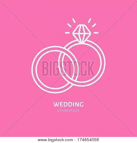 Wedding or engagement rings line icon. Vector logo for jewelery store, wedding organization service or event agency. Linear illustration of ring with diamond.