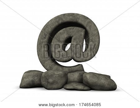 stone email symbol on white background - 3d illustration