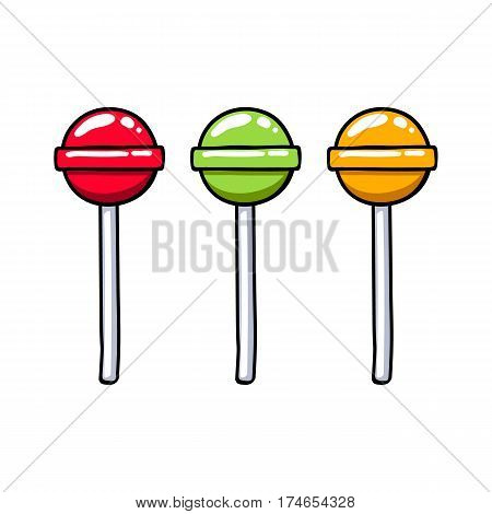 Set of colorful round colorful sweet lollipop candies. Sweet hard candies on stick. Hand drawn doodle sketch.