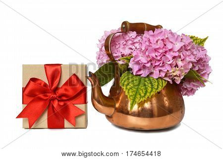 Mothers Day gift and flowers isolated on white background