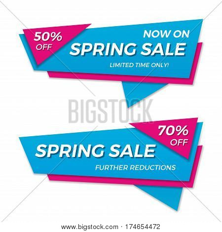 Spring Sale Label Price Tag Banner Badge Template Sticker Design.