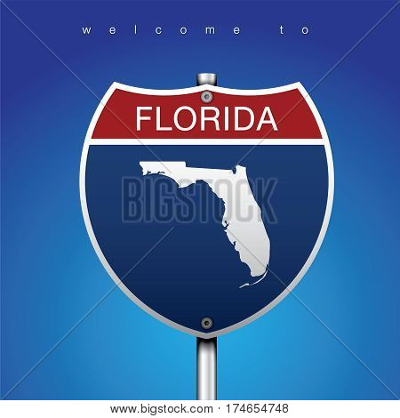 Sign of State American in Road Style  Sign Road America Style with FLORIDA State