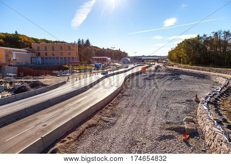 Image of a road construction site in Stavanger Norway.