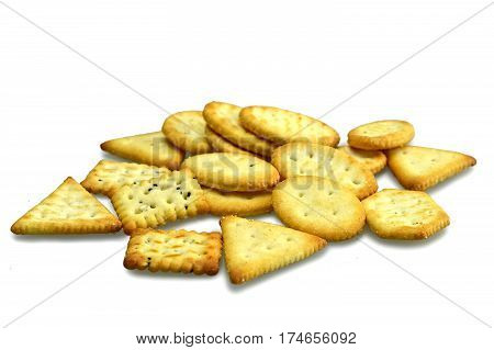Various mini crackers isolated on white background