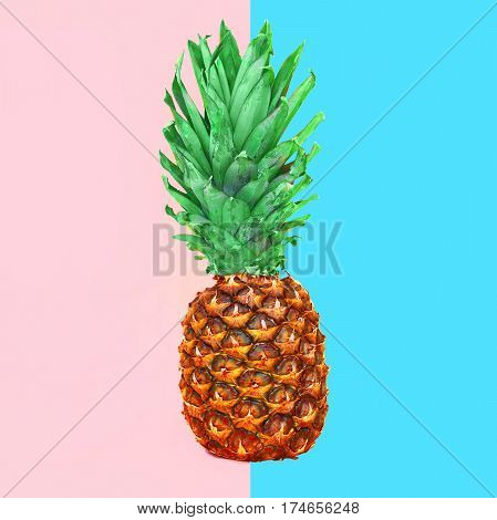 Pineapple Fruit On Colorful Pink Blue Background, Ananas Photo