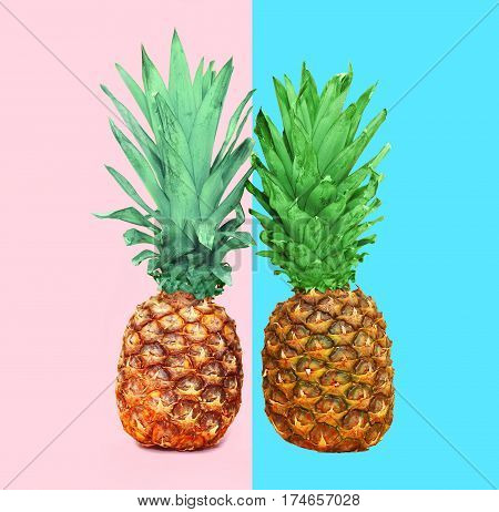 Two Pineapple Fruit On Colorful Pink Blue Background, Ananas Photo