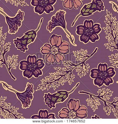 Seamless pattern of flowers and leaves medical plant yarrow. Milfoil.