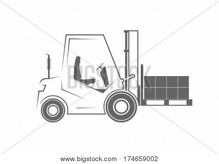 Forklift with a pallet isolated on background. Vector illustration