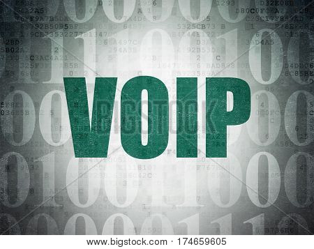 Web design concept: Painted green text VOIP on Digital Data Paper background with   Binary Code