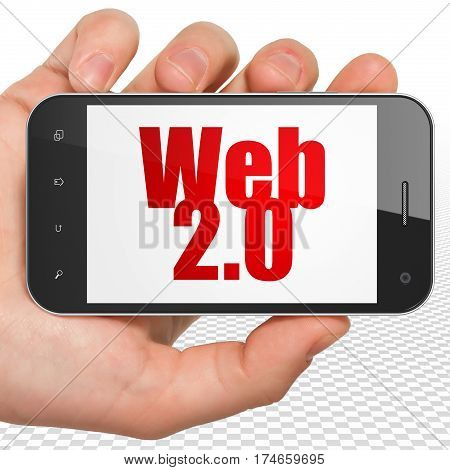Web development concept: Hand Holding Smartphone with red text Web 2.0 on display, 3D rendering
