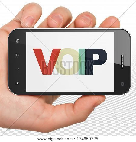 Web design concept: Hand Holding Smartphone with Painted multicolor text VOIP on display, 3D rendering