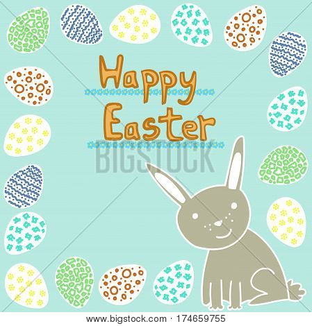 Happy Easter greeting card with cute rabbit and eggs