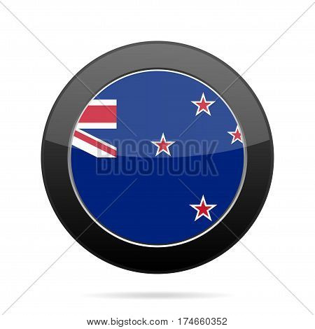 National flag of New Zealand. Shiny black round button with shadow.