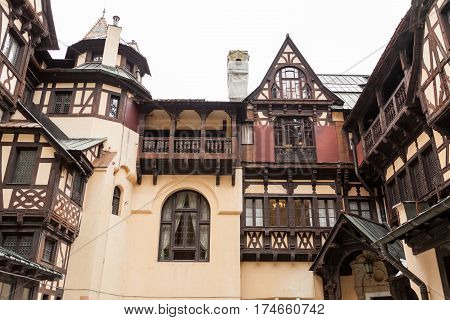 Inner Yard Of Pelisor Castle From Sinaia, Romania