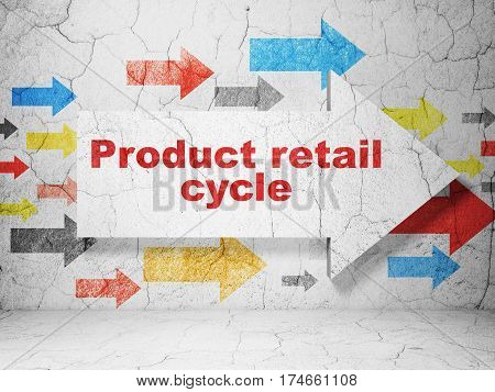 Marketing concept:  arrow with Product retail Cycle on grunge textured concrete wall background, 3D rendering