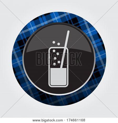 black isolated button with blue black and white tartan pattern on the border - light gray glass with carbonated drink and straw icon in front of a gray background