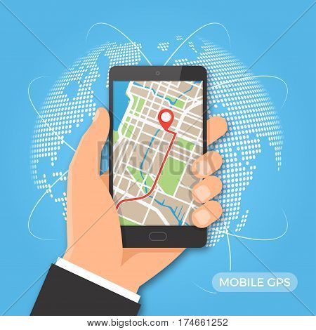 Mobile gps navigation and tracking concept. Hand holding smartphone with city map path and location mark on the screen. Vector illustration.