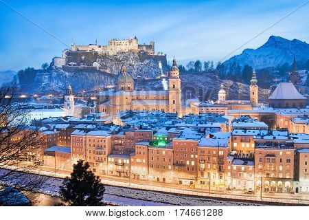 Beautiful View Of The Historic City Of Salzburg With Festung Hohensalzburg In Winter As Seen From Ka