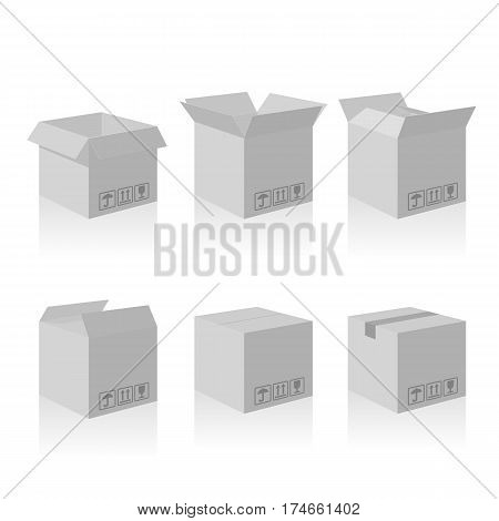 Open and closed recycle carton delivery packaging box with fragile signs. Collection vector illustration isolated box with shadow on white background for web, icon, banner, infographic.
