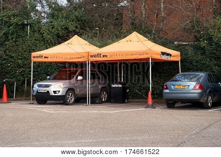 Basingstoke, Uk - February 24 2017 - The We-fit Area Of The Halfords Car And Auto Spares And Repair