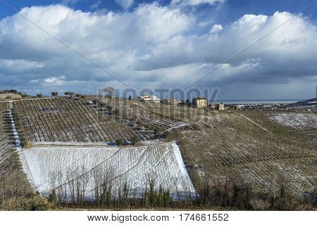 Landscape with agricultural fields covered by first snow under cloudy sky
