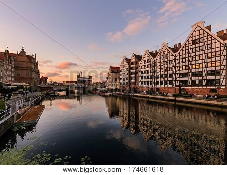 Amazing architecture of Gdansk cityscape in Poland Europe.