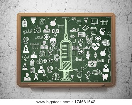 Healthcare concept: Chalk Green Syringe icon on School board background with  Hand Drawn Medicine Icons, 3D Rendering