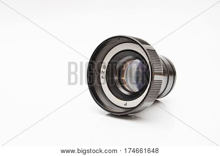 magnifying glass in the projector lens on white background