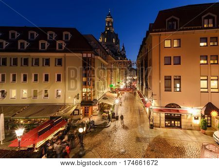 Beautiful street in old town of Dresden in the evening. Germany. Europe.