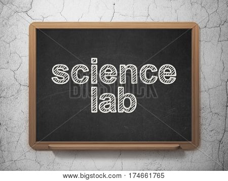 Science concept: text Science Lab on Black chalkboard on grunge wall background, 3D rendering