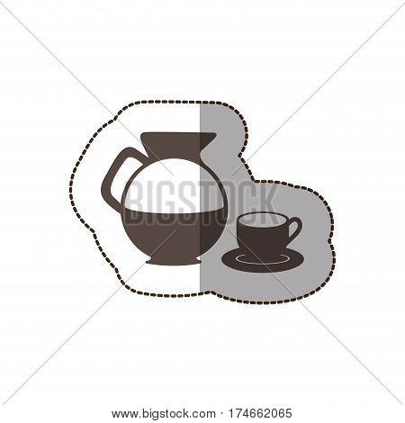 contour water pitcher with coffee cup and plate icon, vector illustraction