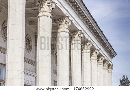 Ionic beautiful highest stone columns under blue sky